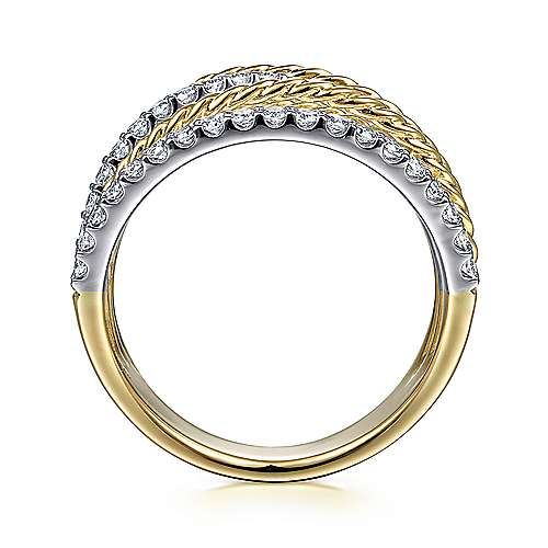 14K White-Yellow Gold Twisted Rope and Diamond Multi Row Ring