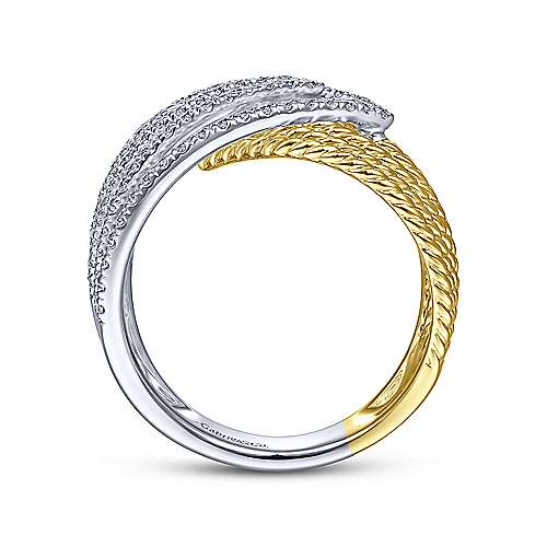 14K White-Yellow Gold Twisted Rope and Diamond Overlapping Triangle Ring