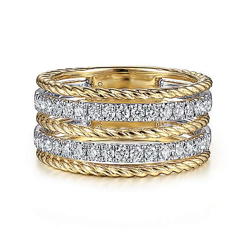 14K White-Yellow Gold Twisted Rope and Diamond Ring