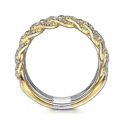 14K White-Yellow Gold Wide Band Layered Diamond Ring
