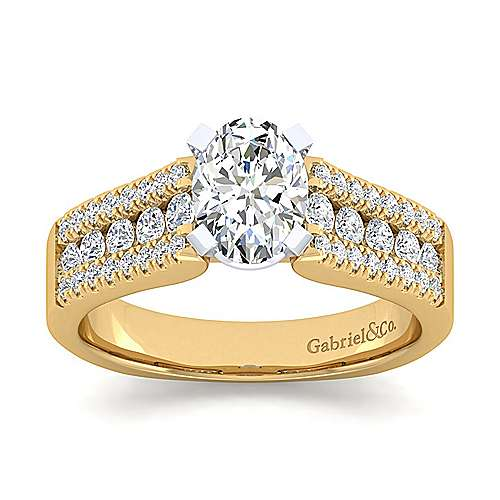 14K White-Yellow Gold Wide Band Oval Diamond Engagement Ring