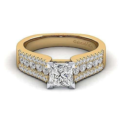 14K White-Yellow Gold Wide Band Princess Cut Diamond Engagement Ring