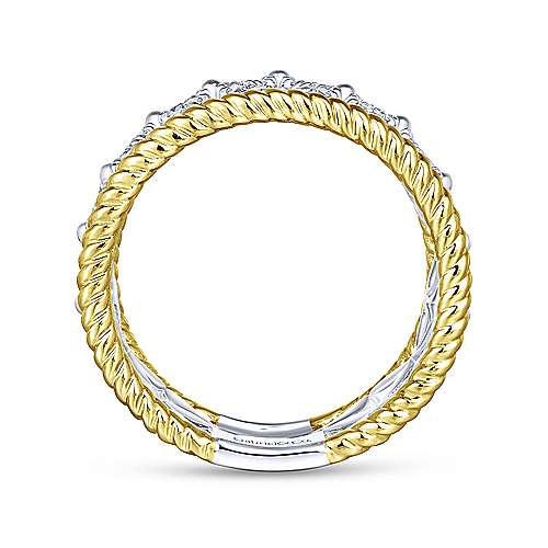 14K White-Yellow Gold Wide Open Pattern Diamond Ring with Twisted Rope Edge