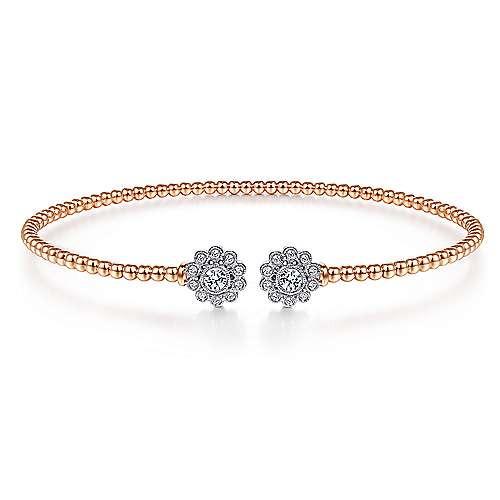 14K White and Rose Gold Bangle with Diamond Flowers