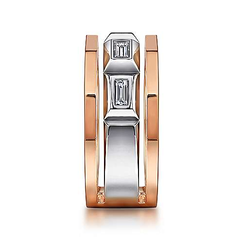 14K White and Rose Gold Faceted Ring with Diamond Baguettes