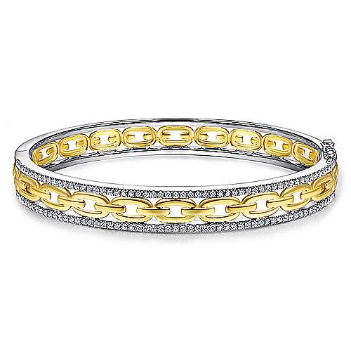 14K White and Yellow Gold Chain Link Bangle with Diamond Frame