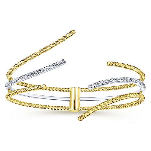 14K White and Yellow Gold Open Bangle with Diamonds