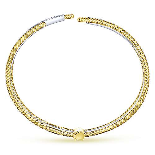 14K White and Yellow Gold Open Bangle with Twisted Rope and Diamonds