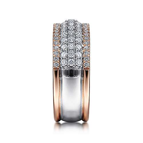 14K WhiteRose Gold Pavé Diamond Ring