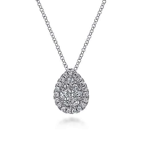 14K Wht Gold Diamond Necklace