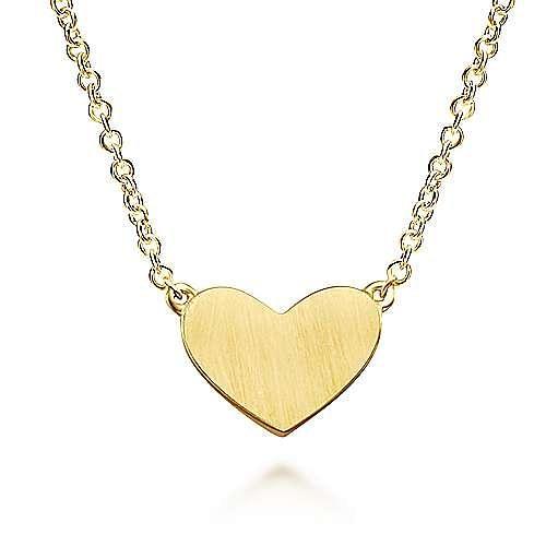 14K Y. Gold Heart Engravable Necklace