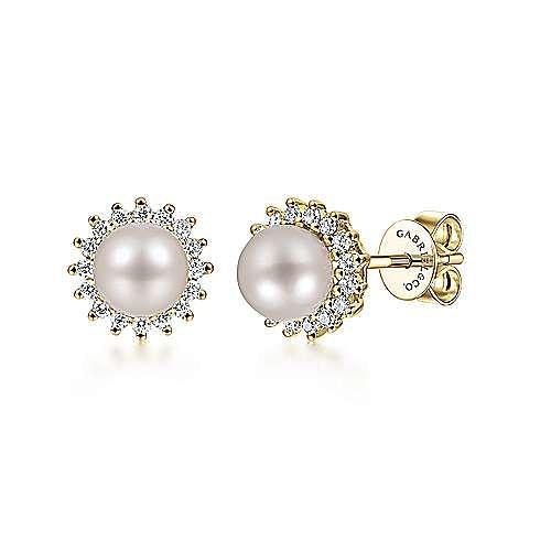 14K Y.Gold Pearl&Dia Earrings