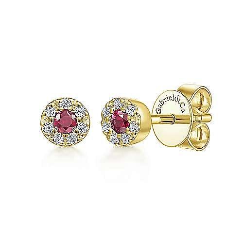 Gabriel - 14K Y.Gold Ruby&Dia Earring