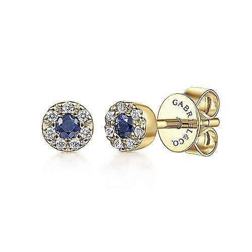 Gabriel - 14K Y.Gold Sapphire&Dia Earrin
