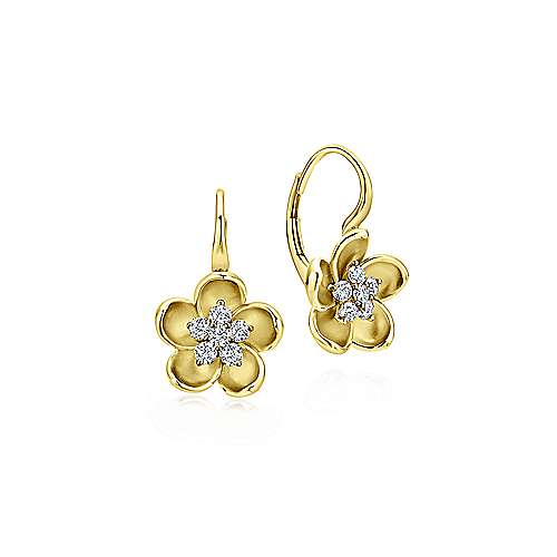 14K Yellolw Gold Leverback FlowerEarrings with Diamond Center