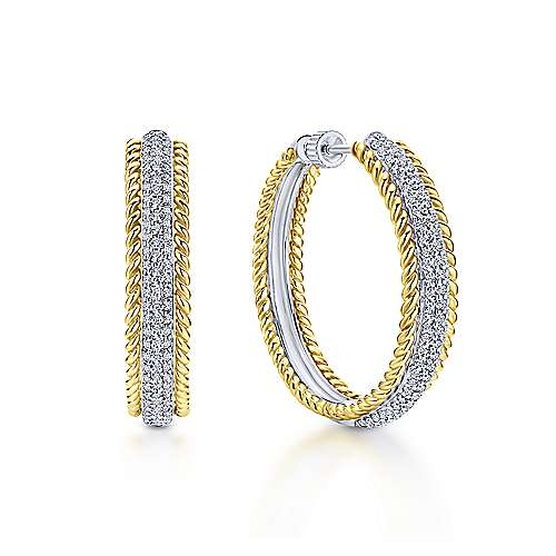 14K Yellow & White Gold Prong Set  30mm Round Classic Diamond Hoop Earrings