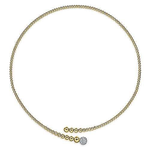 14K Yellow Bujukan Bead Collar Necklace with White Gold Diamond Pavé Ball