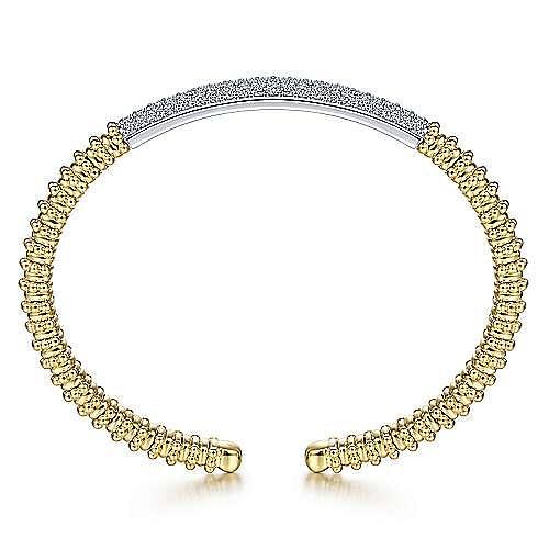 14K Yellow Bujukan Bead Cuff Bracelet with White Gold Pavé Diamond Bar
