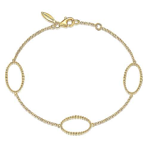 14K Yellow Chain Bracelet with Beaded Oval Link Stations