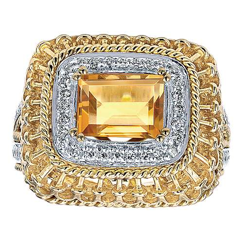 14K Yellow Gold  Emerald Halo Citrine and Diamond Ring
