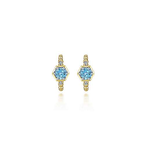 14K Yellow Gold 10mm Beaded Blue Topaz and Diamond Huggie Earrings