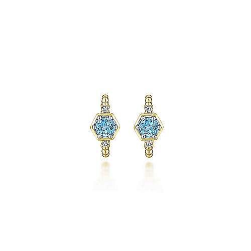 14K Yellow Gold 10mm Beaded Blue Topaz and Diamond Huggies