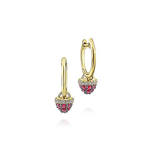 14K Yellow Gold 10mm Diamond And Ruby Cluster Huggie Drop Earrings