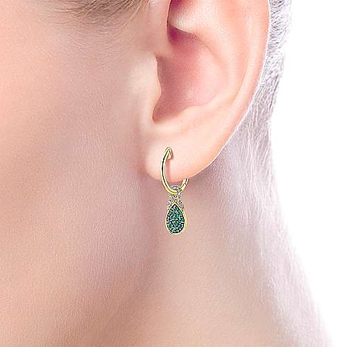 14K Yellow Gold 10mm Diamond and Pear Shaped Emerald Cluster Huggie Drop Earrings