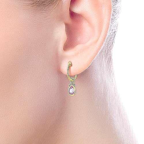 14K Yellow Gold 10mm Diamond and Pear Shaped Pink Created Zircon Huggie Drop Earrings