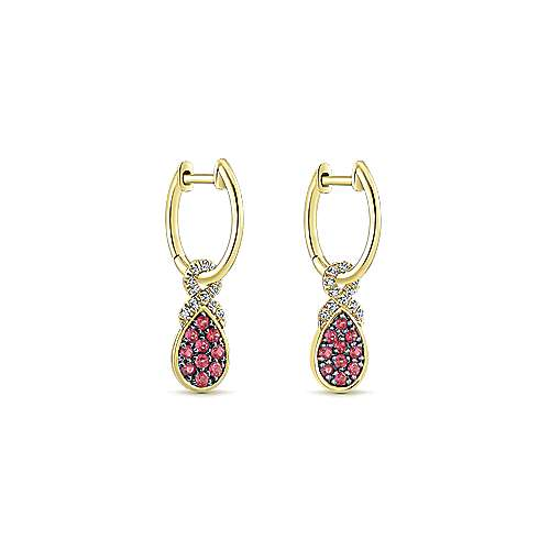 14K Yellow Gold 10mm Diamond and Pear Shaped Ruby Cluster Huggie Drop Earrings