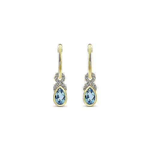 14K Yellow Gold 10mm Diamond and Pear Shaped Swiss Blue Topaz Huggie Drop Earrings