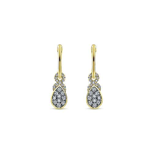 14K Yellow Gold 10mm Diamond and Pear Shaped White Sapphire Cluster Huggie Drop Earrings