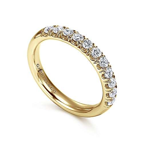 14K Yellow Gold 11 Stone French Pavé Diamond Wedding Band