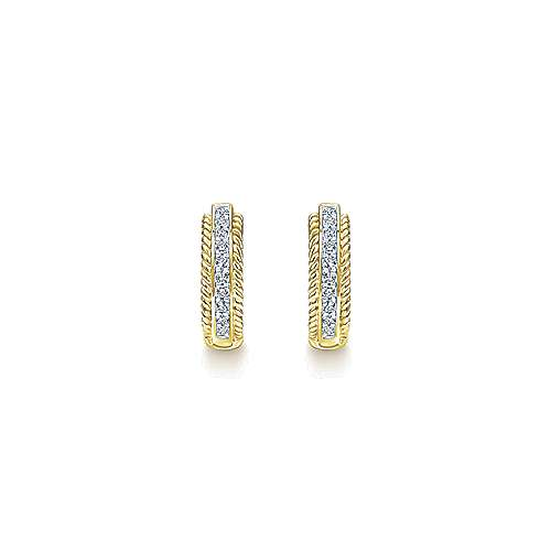 14K Yellow Gold 15mm Diamond Hoop Earrings