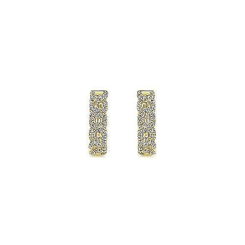 14K Yellow Gold 15mm Diamond Rope Huggie Earrings