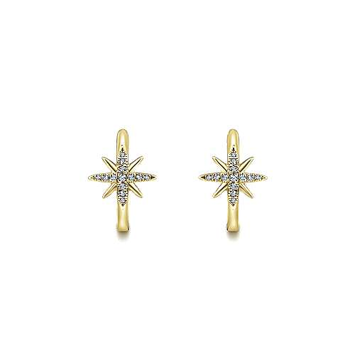 14K Yellow Gold 15mm Diamond and Star Huggie Earrings