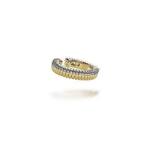 14K Yellow Gold 15mm Textured Hoop Earcuff