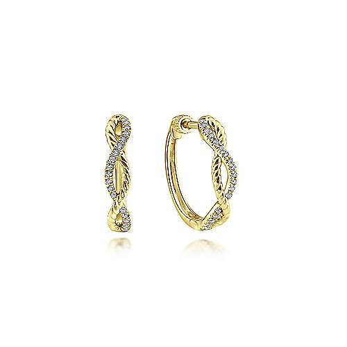 14K Yellow Gold 15mm Twisted Diamond Huggie Earrings