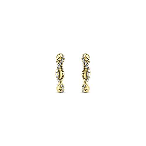14K Yellow Gold 15mm Twisted Rope and Diamond Huggie Earrings