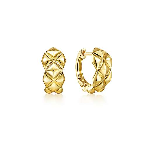 14K Yellow Gold 20 mm Quilted Motiff Huggies