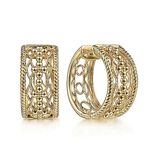 14K Yellow Gold 20 mm Wide Open Pattern Huggies