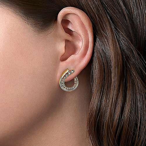14K Yellow Gold 20mm Bujukan Beaded Bypass Hoop Earrings
