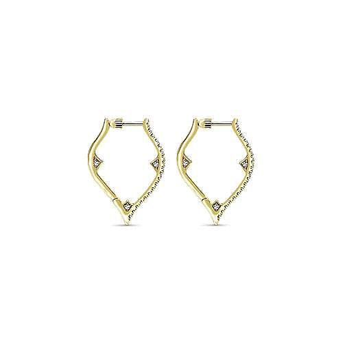14K Yellow Gold 20mm Geometric Diamond Huggies