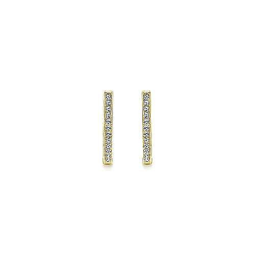 14K Yellow Gold 20mm Slim Pavé Diamond Huggies