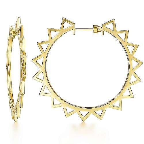 14K Yellow Gold 20mm Spike Classic Hoop Earrings