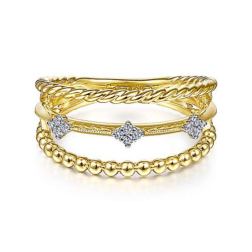 14K Yellow Gold 3 Row Diamond Station Beaded Ring
