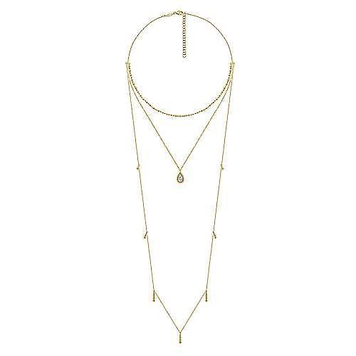 14K Yellow Gold 3 Strand Teardrop Diamond Pavé Necklace with Drops