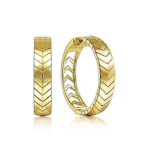 14K Yellow Gold 30 mm Chevron Classic Hoops Earrings