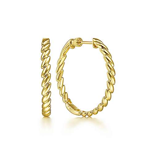 14K Yellow Gold 30 mm Twisted Rope Hoops