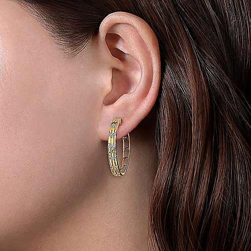 14K Yellow Gold 30MM Diamond Earrings